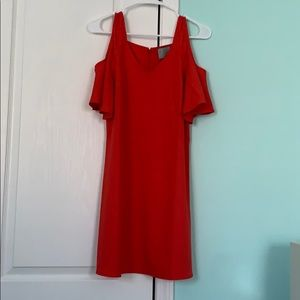 red peek a boo shoulder dress